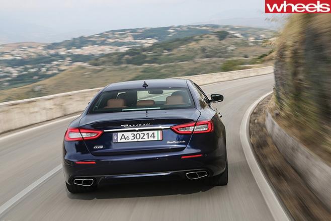 2017-Maserati -Quattroporte -driving -rear