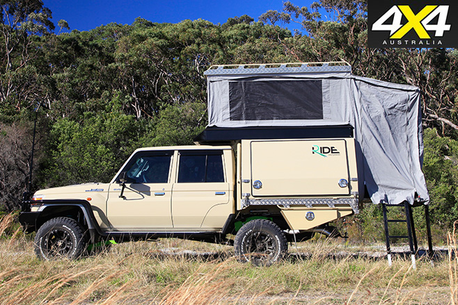 LandCruiser 79 pop-top camper on roof