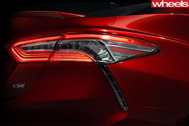 Toyota -Camry -2017-Teaser -Detroit -rear -light -detail