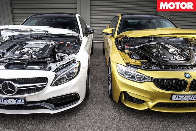 Mercedes -AMG-C63-S-Coupe -vs -BMW-M4-Competition -engine