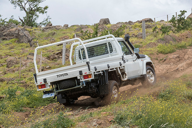 Toyota Landcruiser 70-series rear uphill driving