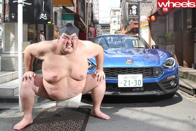 Fiat -124-with -Sumo -Wrestler -Cristian -Brunelli