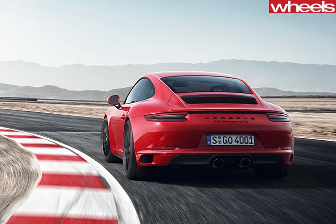 Porsche -911-GTS-driving -rear