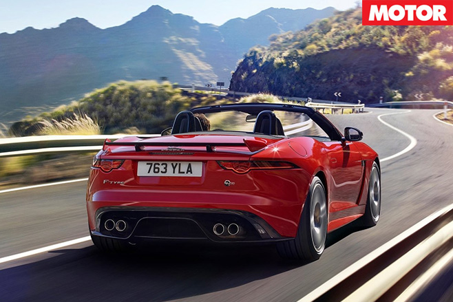 Jaguar F-Type convertible rear driving