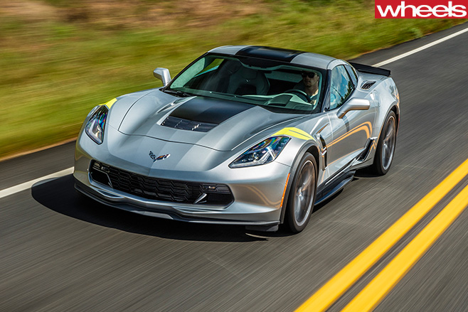 2017-Chevrolet -Corvette -C8-driving -front -side