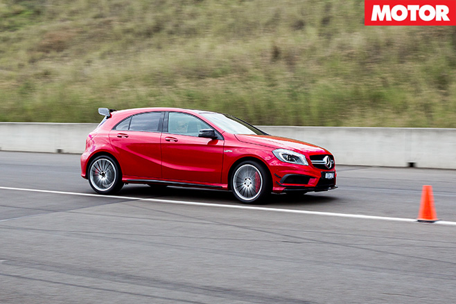 Mercedes -Benz -A45-AMG-Slalom -left -turn