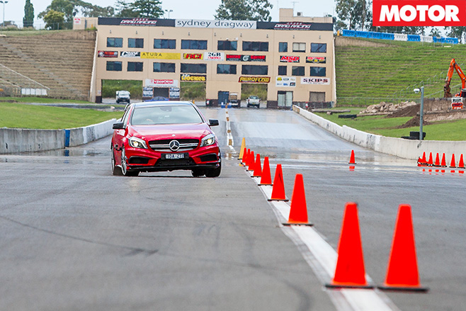 Mercedes -Benz -A45-AMG-Slalom _front _left _turn