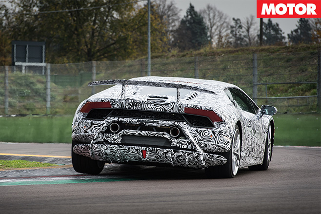 Lamborghini Huracan Performante driving rear