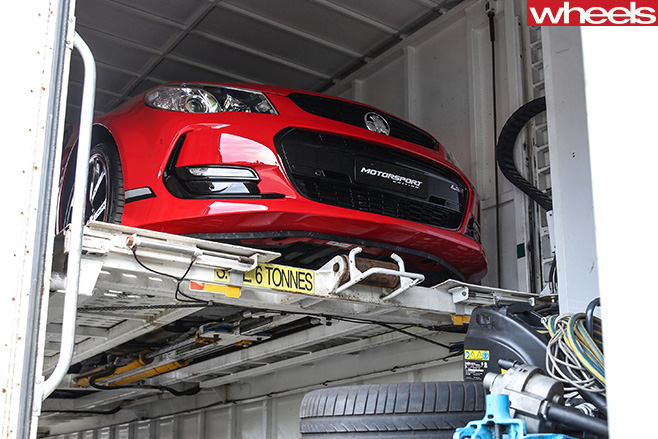 Holden -Commodore -Motorsport -special -edition -unloading -off -truck