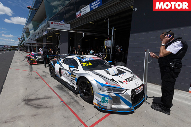 R8 GT3 LMS car in pits