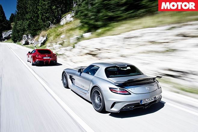 Ferrari -F12-Berlinetta -vs -Mercedes -Benz -SLS-AMG-Black -Series -driving