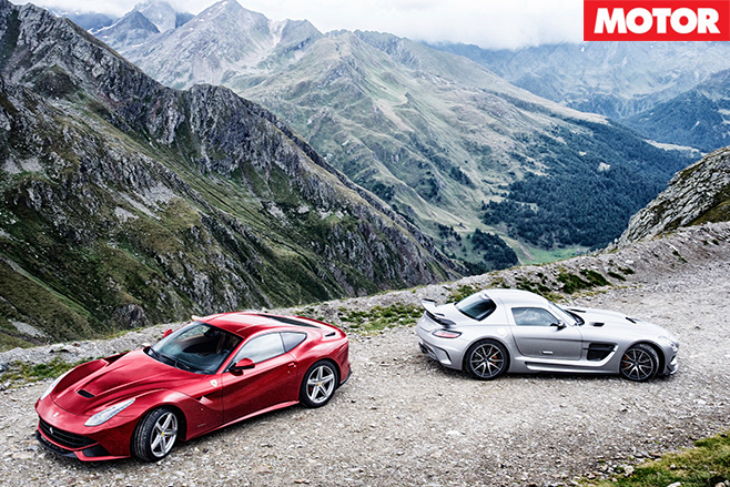 Ferrari -F12-Berlinetta -vs -Mercedes -Benz -SLS-AMG-Black -Series -mountain