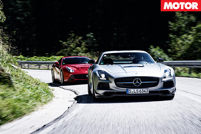 Ferrari -F12-Berlinetta -vs -Mercedes -Benz -SLS-AMG-Black -Series -front