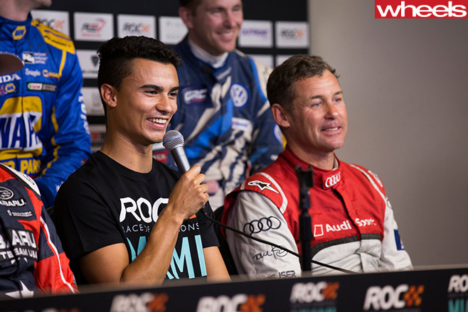 Pascal -Wehrlein -sitting -in -stands -at -Race -of -Champions