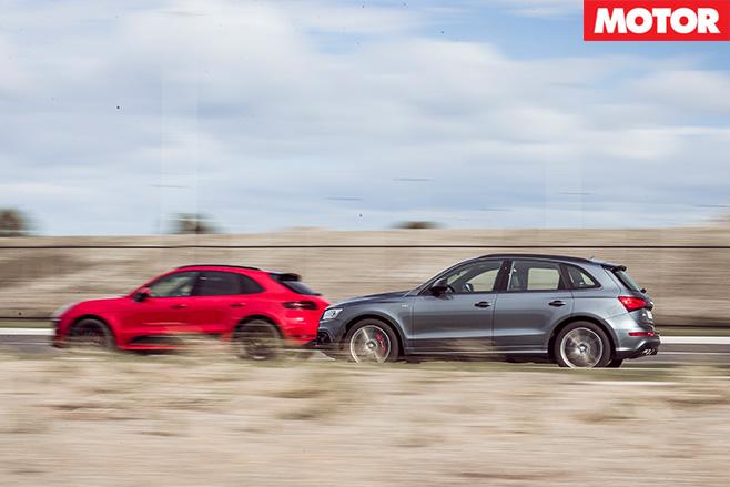 Audi SQ5 Plus vs Porsche Macan GTS side