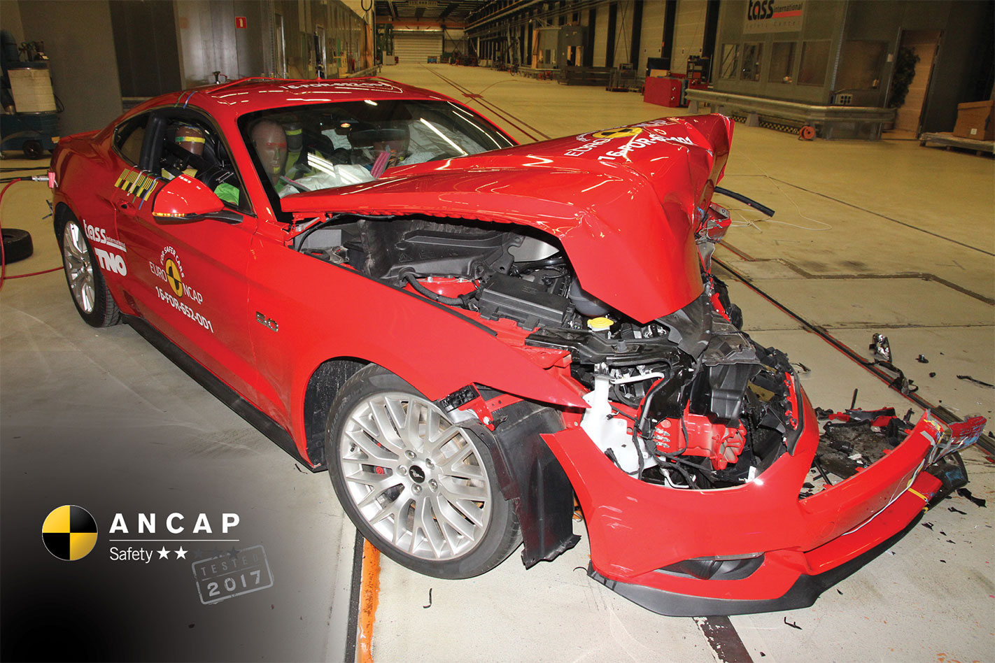 Ford Mustang offset crash
