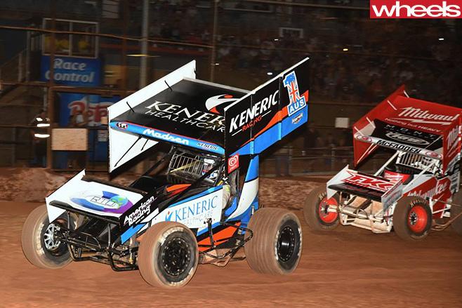 Kerry -Masden -US-Race -car -leads -Ian