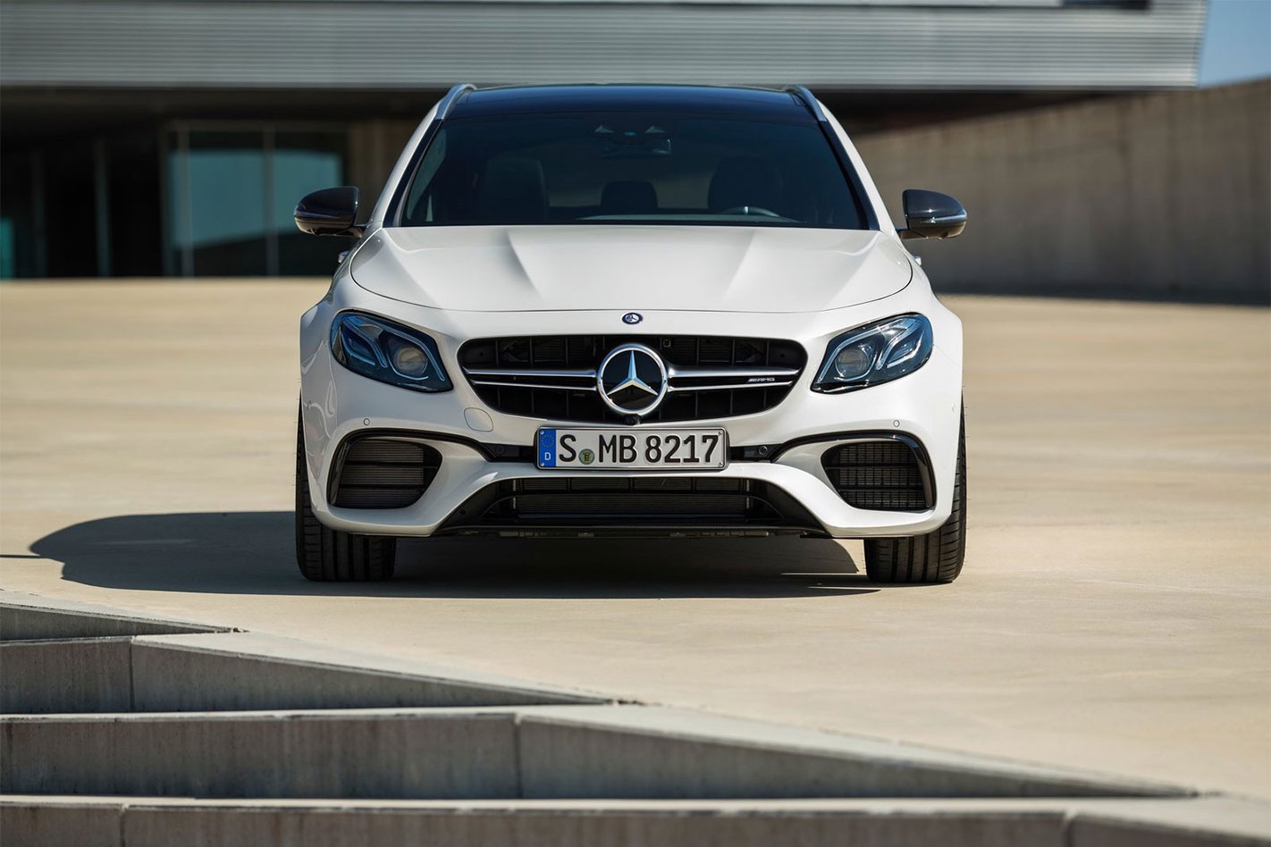 2017 Mercedes AMG E63 S Estate front on