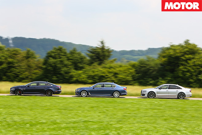Alpina B7 vs Audi S8 Plus vs Jaguar XJR side
