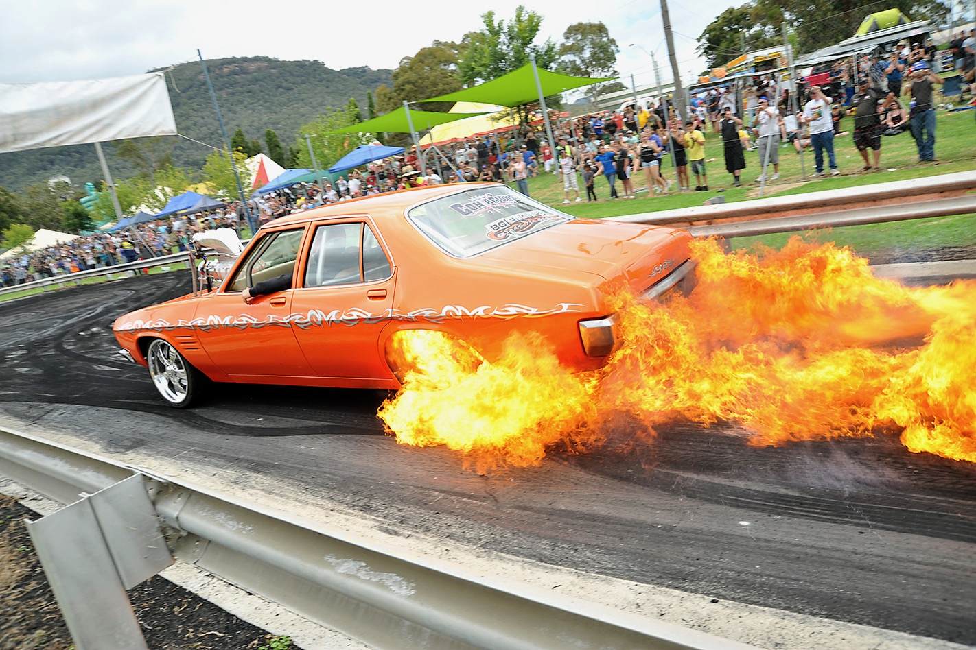 Holden HQ KRANKY Burnout Fire