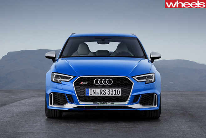 Audi -RS3-driving -front