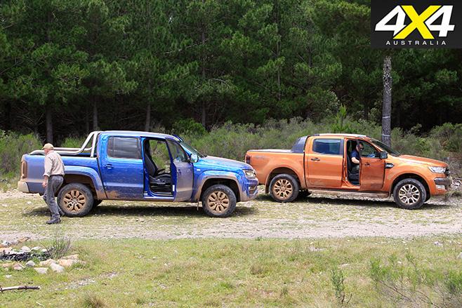 Volkswagen Amarok V6 vs Ford Ranger Wildtrak side