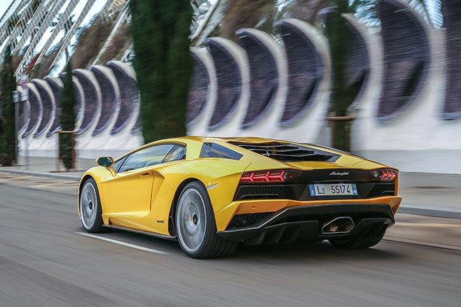 Lamborghini Aventador S rear driving
