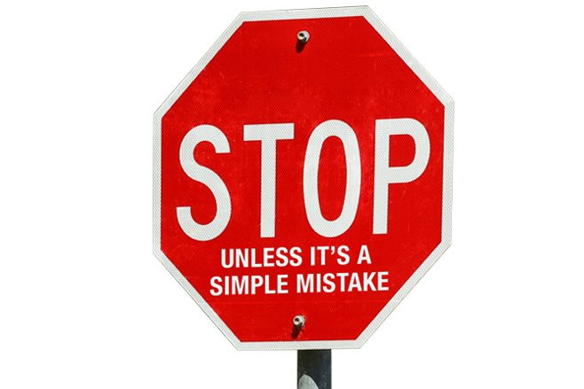 stop sign people make mistakes