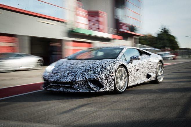 Lamborghini Huracan Performante driving fast