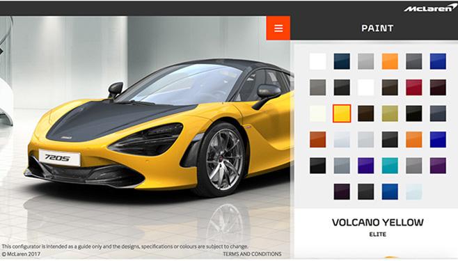 McLaren 720S paint config