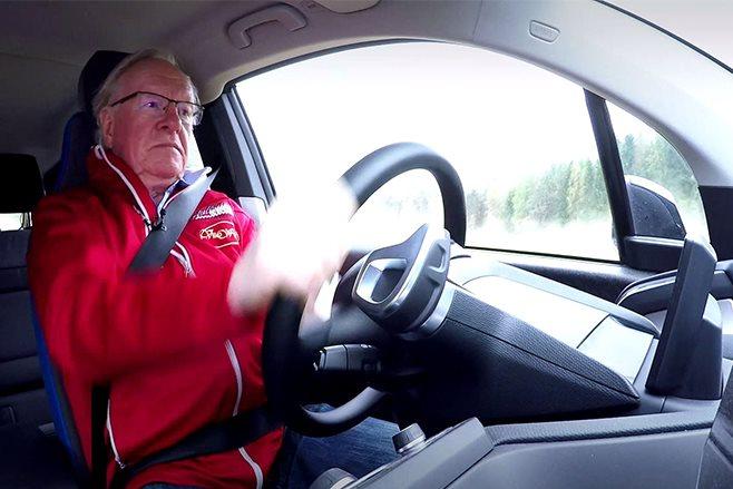 Rauno Aaltonen drifts bmw i3 rally