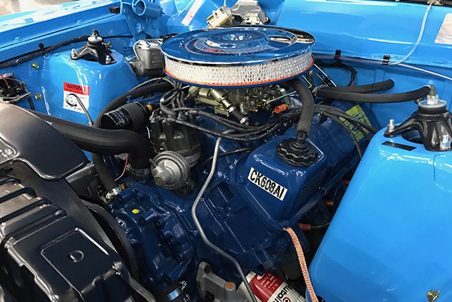Ford Falcon GT HO Phase II blue engine