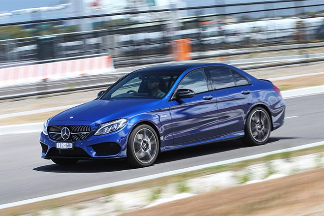 2017 Mercedes AMG C43 driving fast