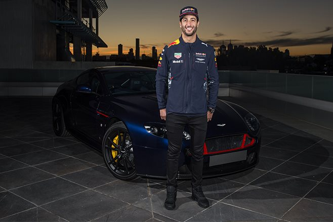 Daniel Ricciardo with Aston Martin Vantage S