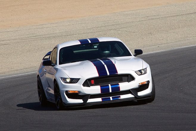 Shelby Mustang driving on track