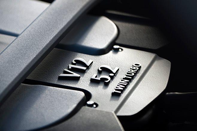 V12 5.2L twin turbo engine badge