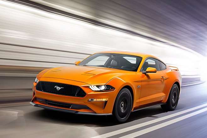 Orange Ford Mustang V8 GT with Performance pack