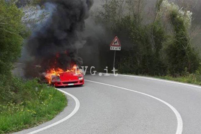 1987 Ferrari F40 prototype on fire
