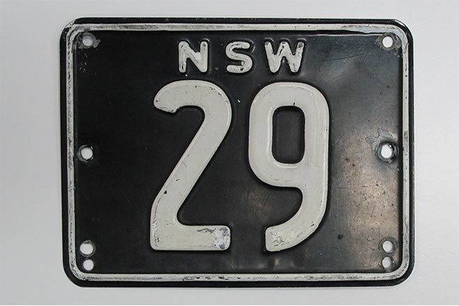 NSW historic plate number 29