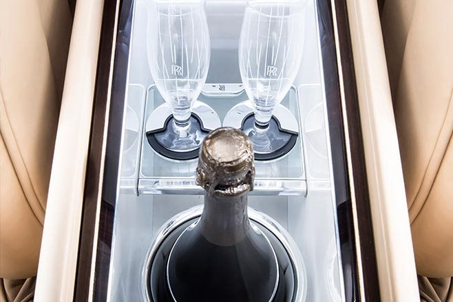 Rolls Royce Sweptail interior champagne flutes