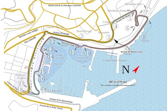monaco circuit layout with streets