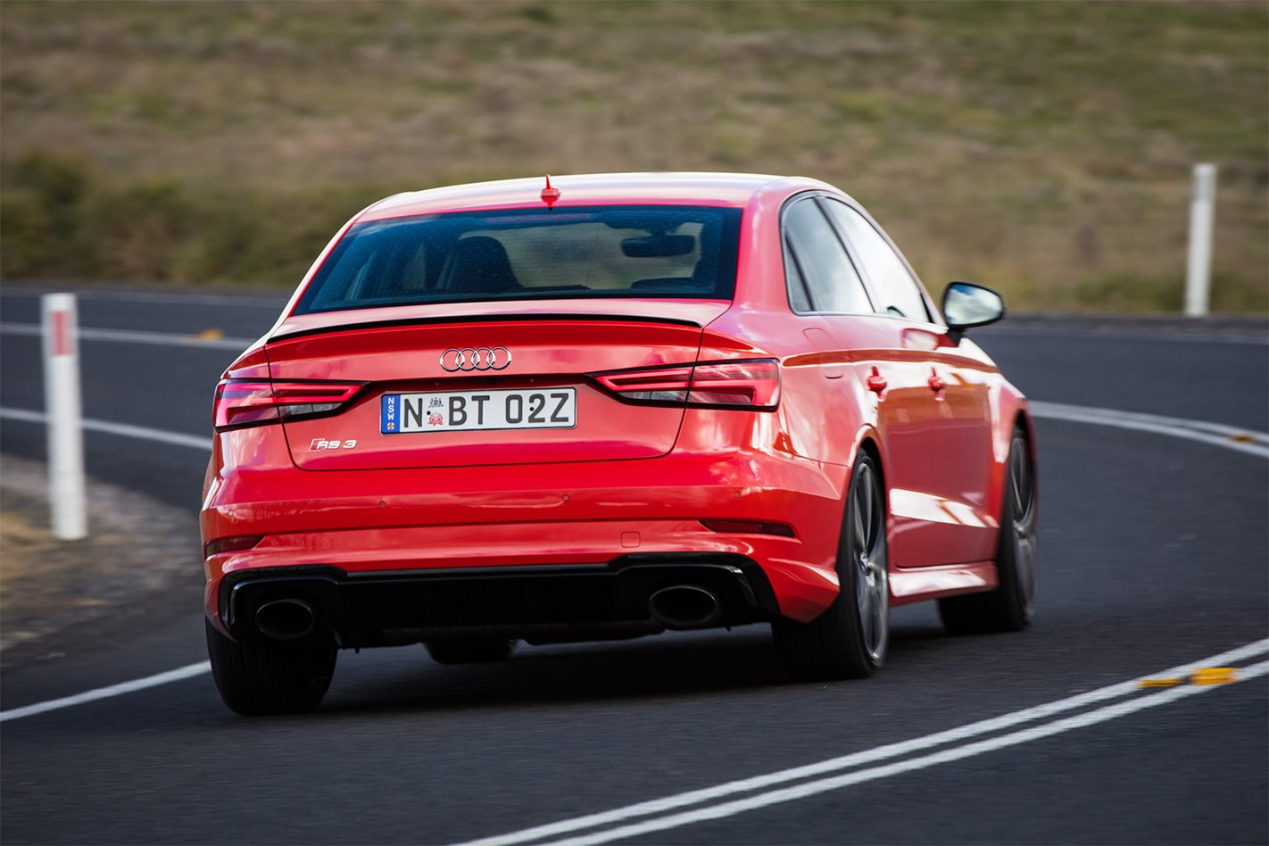 2017 Audi RS3 Sedan rear driving