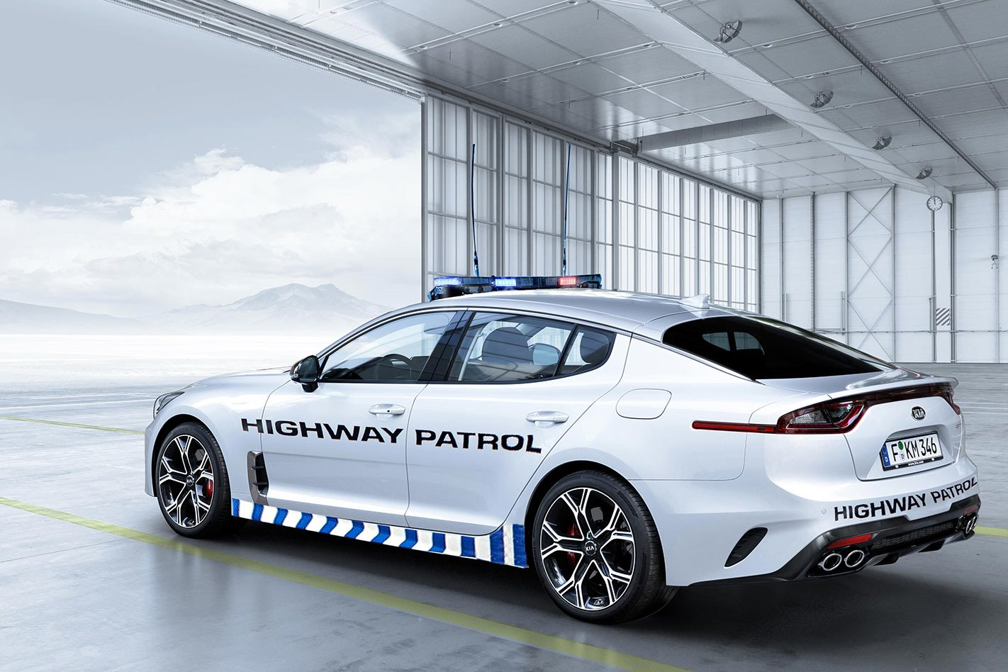 Kia Stinger GT Highway Patrol side