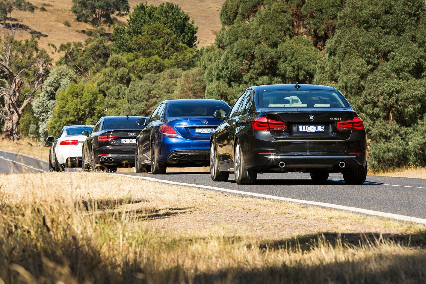 Jaguar XE S vs BMW 340i vs Mercedes-AMG C43 vs Audi S4  rear