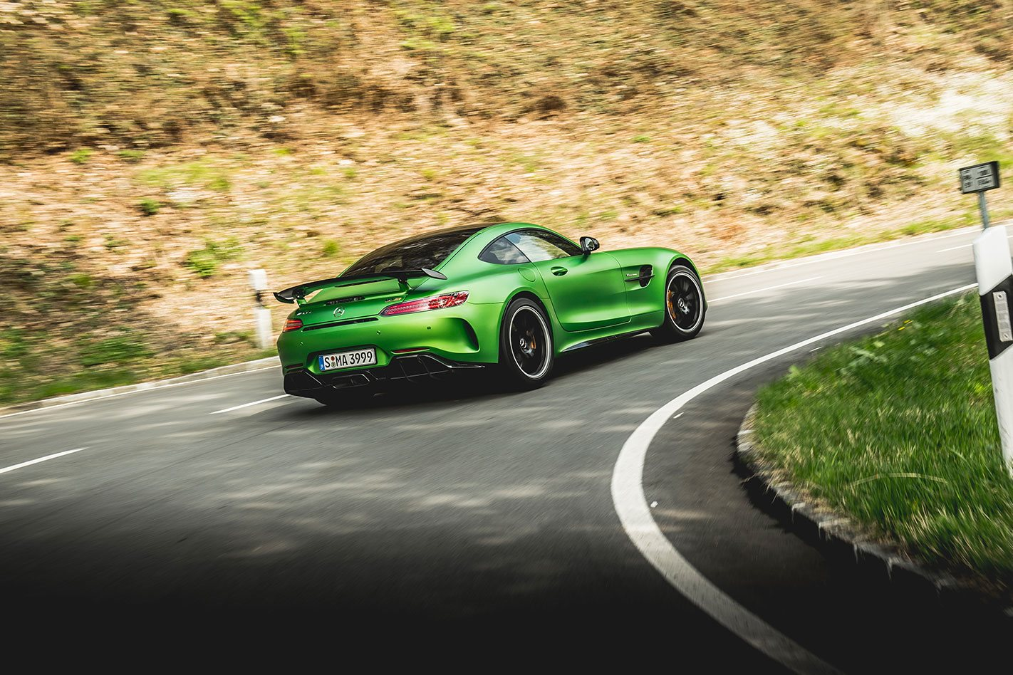 Mercedes AMG GT R driving
