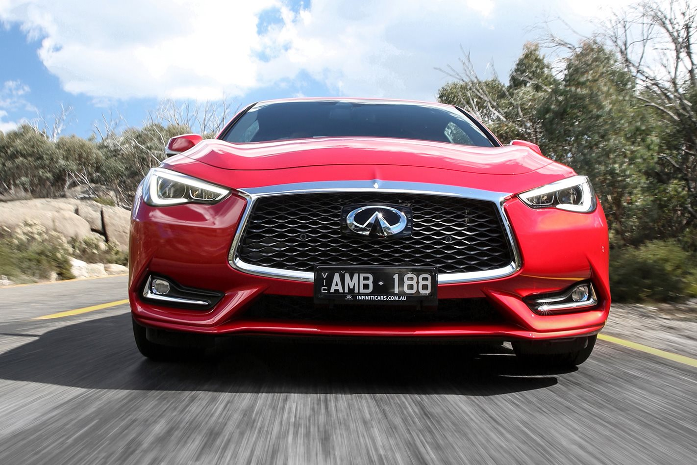 Infiniti Q60 Red Sport front