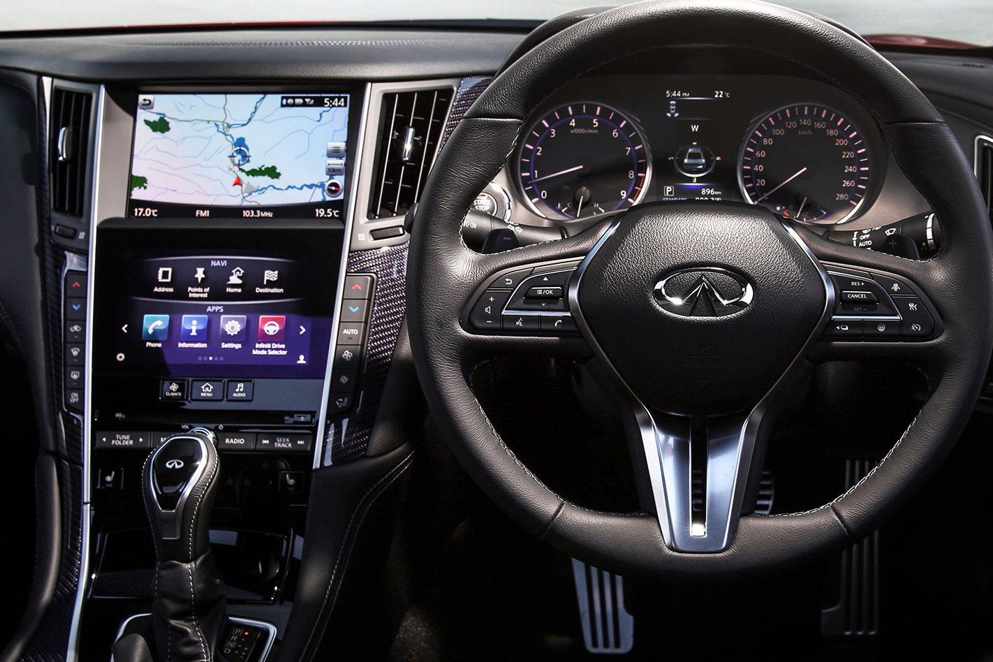 Infiniti Q60 Red Sport steering wheel
