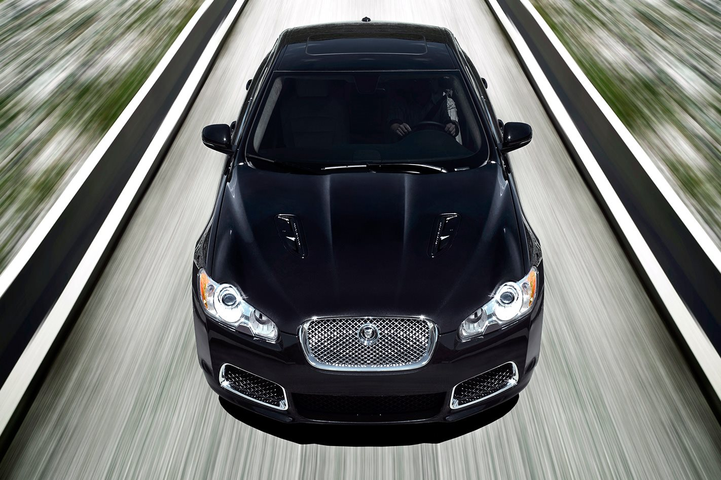 2009 Jaguar XF-R review black sedan front