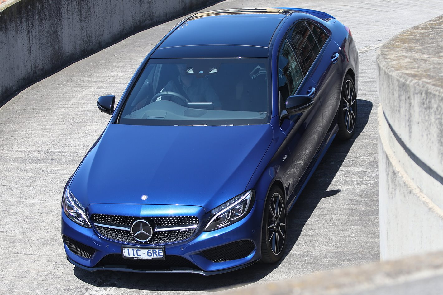 Mercedes AMG C43 driving