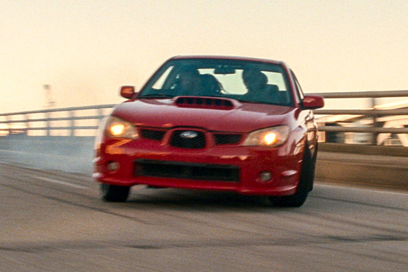 Baby Drivers Subaru WRX skidding